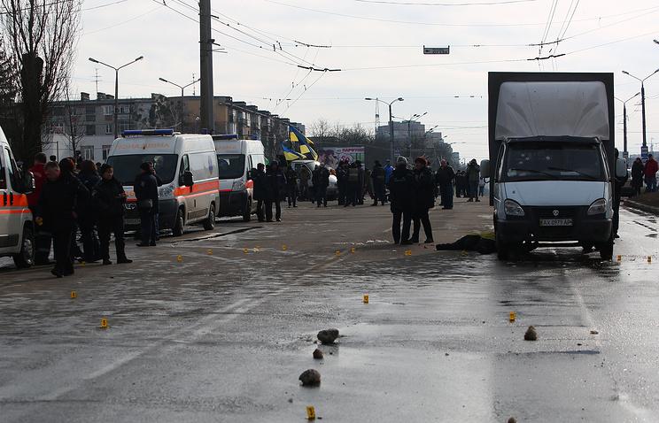 At the scene of a blast in Kharkiv