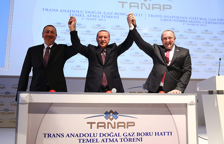 President of Azerbaijan Ilham Aliyev, Turkish President Recep Tayyip Erdogan and Georgian President Giorgi Margvelashvili
