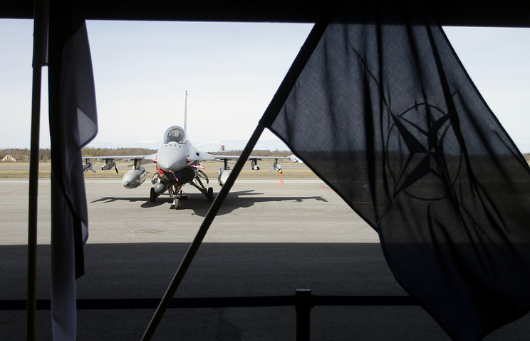 F-16 fighter jet at the opening of a facility for NATO Air Policing mission at Amari Air Force base in Estonia