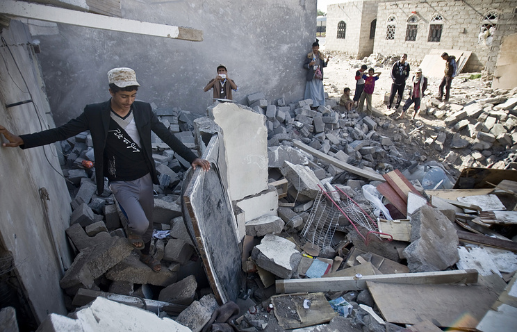 Destroyed houses after Saudi airstrikes in Yemen