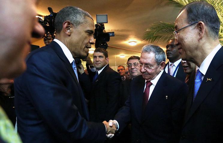 Barack Obama, Raul Castro, Ban Ki-moon