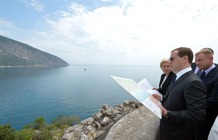 Russian Prime Minister Dmitry Medvedev in Crimea