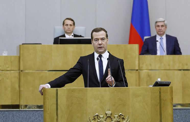 Russian Prime Minister Dmitry Medvedev at the State Duma