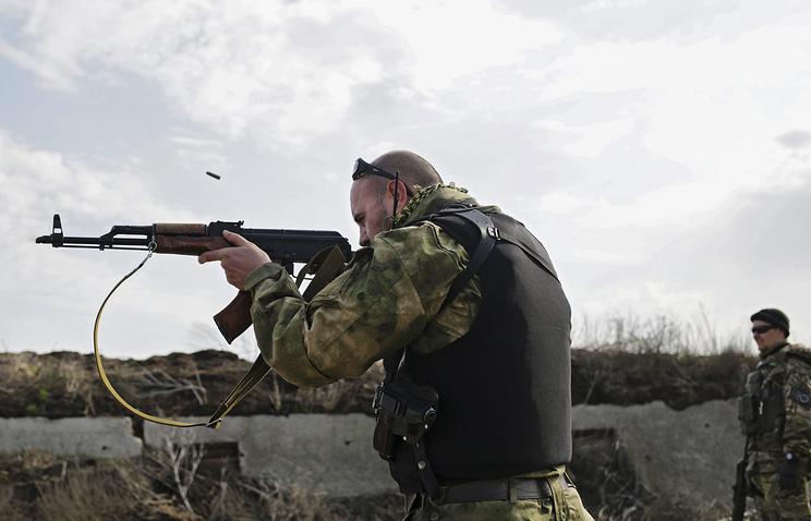 Ukrainian soldiers seen in the Donetsk Region