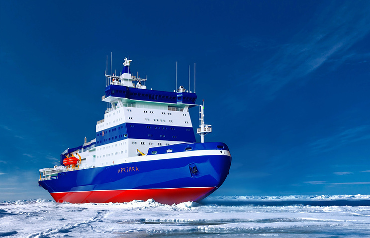 Сomputer-generated image of the Arktika Project 22220 icebreaker (archive)