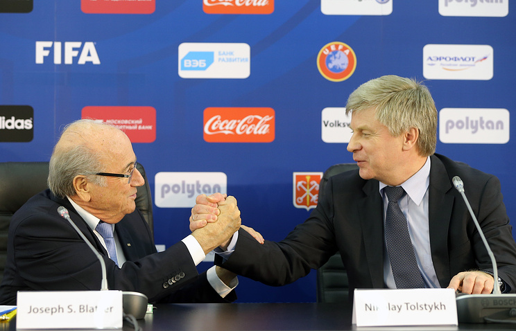 Sepp Blatter and head of the Russian Football Union Nilolay Tolstykh