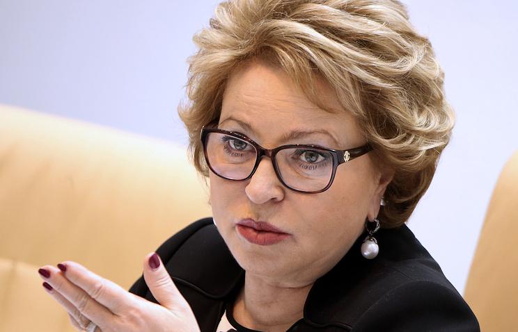 Valentina Matviyenko, the speaker of the Russian parliament's upper house