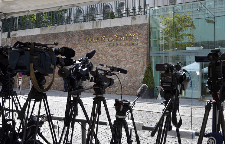 Journalists waiting at the venue of Iran nuclear program talks