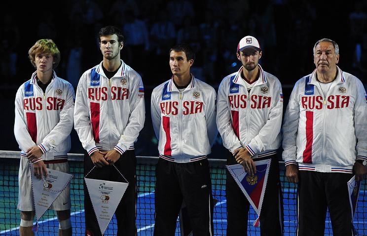 Russia's tennis players Andrei Rublev, Karen Khachanov, Yevgeny Donskoi, Konstantin Kravchuk, and Russian Tennis Federation President Shamil Tarpishchev