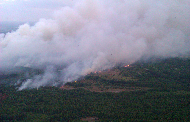 An aerial view of a forest fire in the Chernobyl area, Ukraine