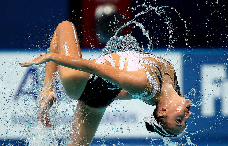Darina Valitova of Russia performs during the Mixed Duet Free final of the Synchronized Swimming events at the FINA Swimming World Championships in Kazan