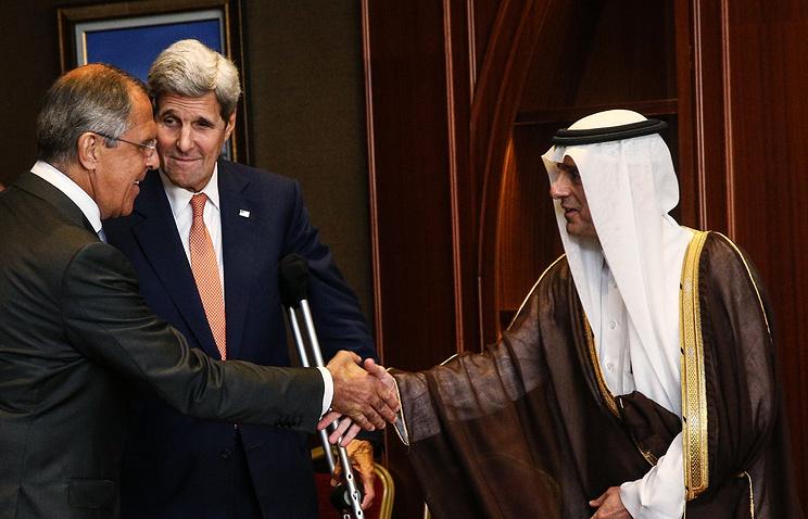 Sergey Lavrov, John Kerry and Adil Al-Jubayr