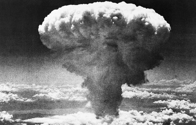 Bomb explosion over Nagasaki