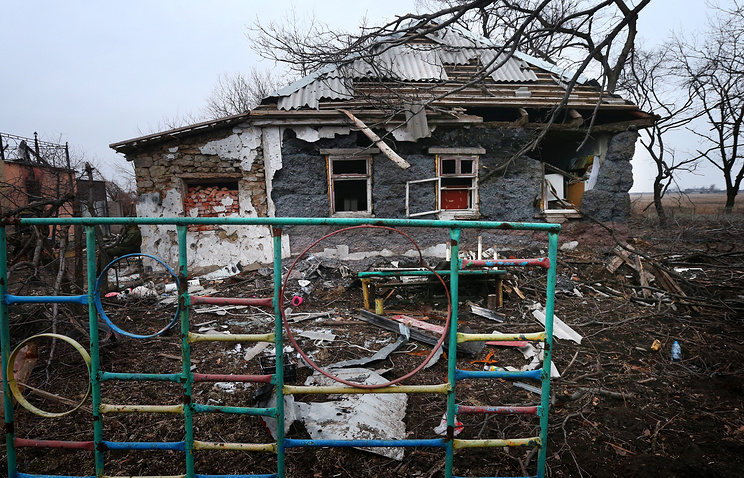 Damaged house in Donetsk region
