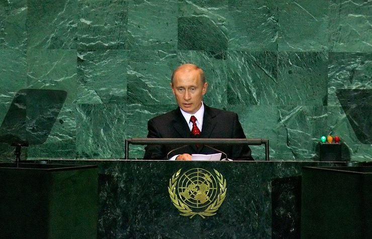 Vladimir Putin giving a speech at the the General Assembly session in 2005