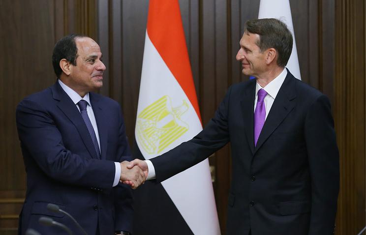 Egyptian President Abdel-Fattah El-Sisi and the chairman of the Russian State Duma, Sergei Naryshkin