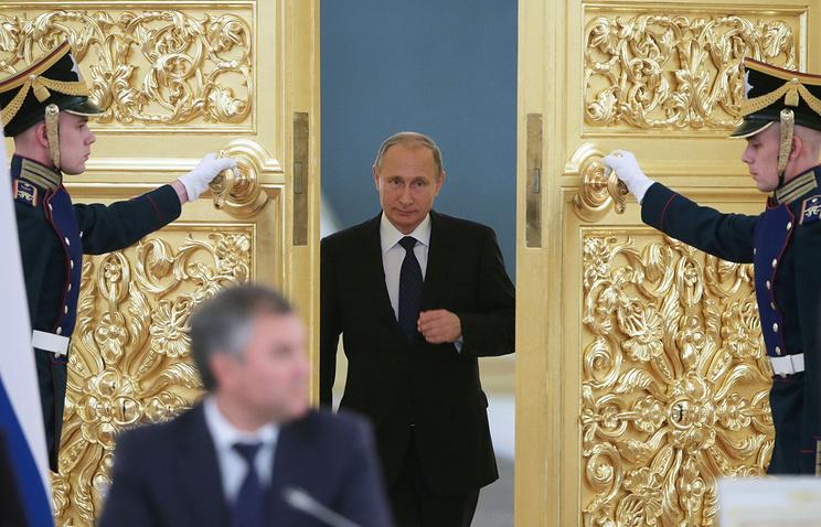 Russian President Vladimir Putin at a meeting of Human Rights Council