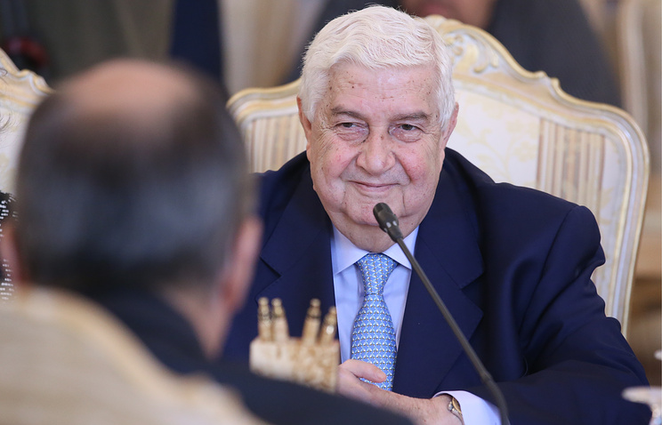 Syrian Foreign Minister Walid Muallem seen during his meeting with Russian Foreign Minister Sergey Lavrov