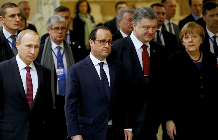 Vladimir Putin, Francois Hollande, Petro Poroshenko, Angela Merkel