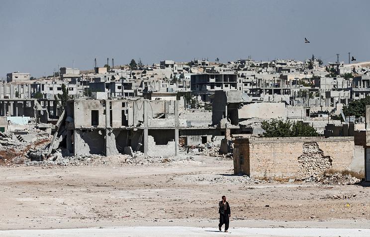Destroyed buildings south Kobane, Syria
