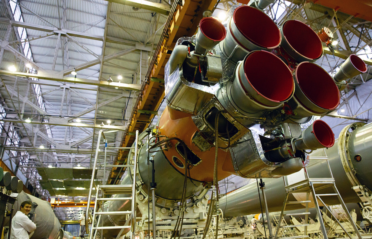 Part of a rocket booster stage in the assembly room at Progress State Research and Production Space Center