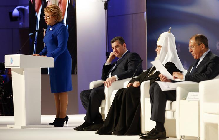 Valentina Marviyenko addresses the 5th World Congress of Compatriots Living Abroad, Nov. 5