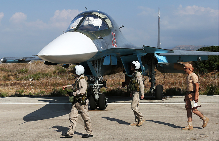Russia's Su-34 fighter jet at the Hmeymim airbase in Syria