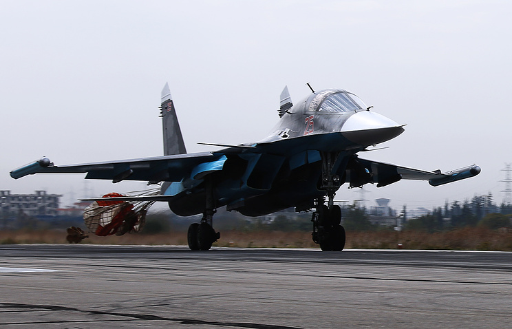 Su-30SM multirole fighter aircraft at Syrian Hmeymim airbase
