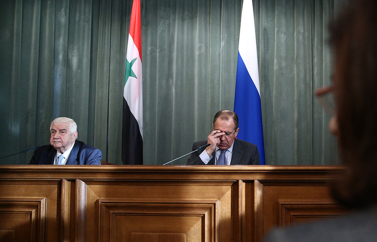 Foreign Ministers of Syria and Russia Walid Muallem and Sergey Lavrov