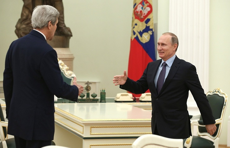 US Secretary of State John Kerry and Russian President Vladimir Putin