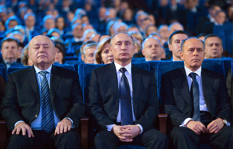 Russian President Vladimir Putin in the Kremlin Palace at a solemn evening dedicated to the Security Service Workers' Day