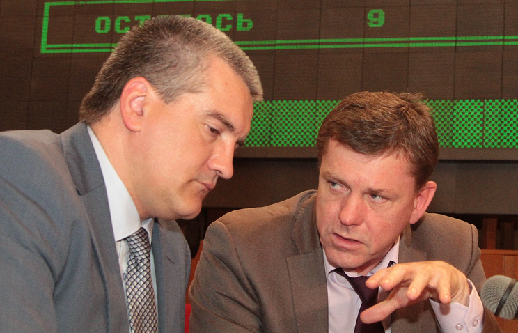 Crimean leader Sergey Aksyonov and former Crimean Finance Minister Vladimir Levandovsky