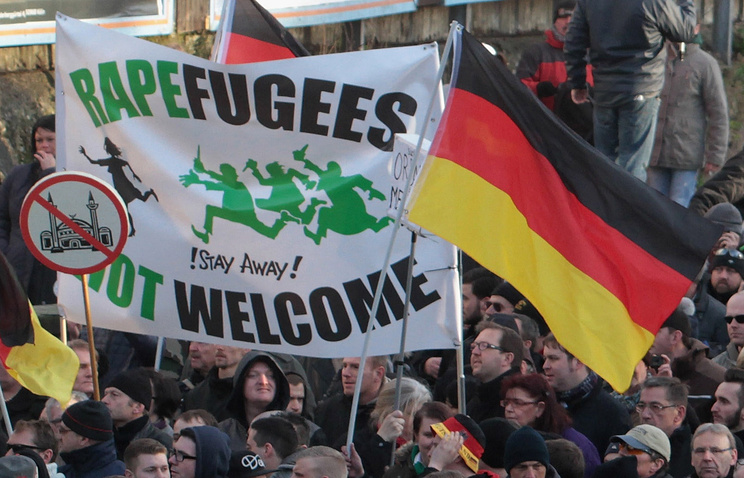 Right-wing demonstrators marching in Cologne, Germany