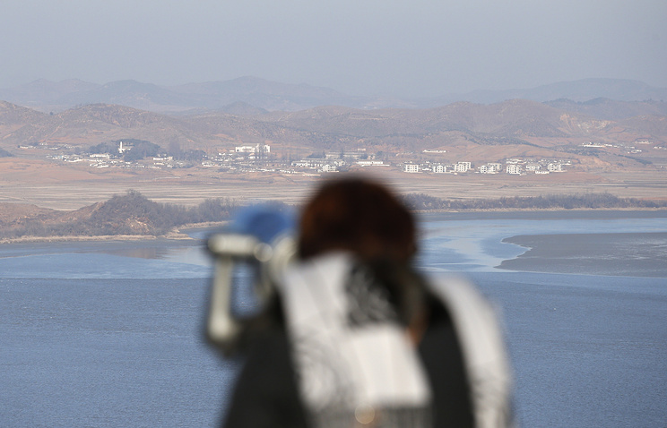 North Korean territory seen from the unification observatory in Paju, South Korea