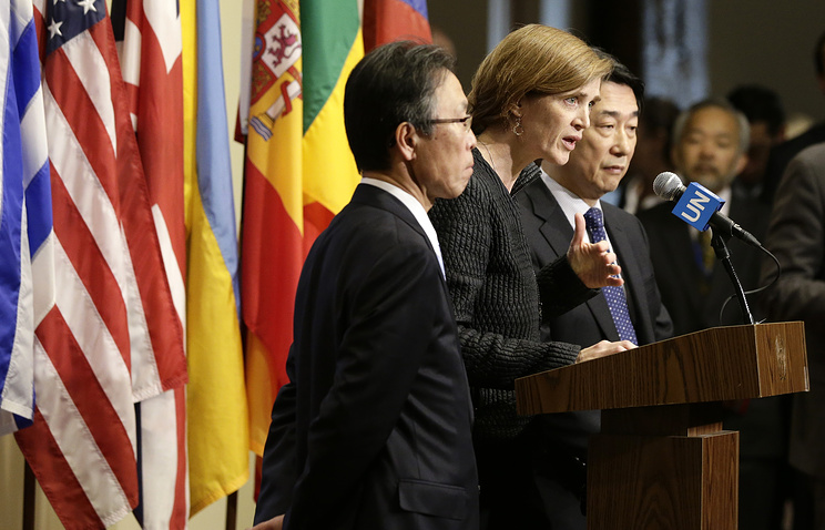 US ambassador to the UN, Samantha Power, Japanese ambassador to the UN, Motohide Yoshikawa and South Korean ambassador to the UN , Oh Joon seen after their emergency meeting on the situation in North Korea at UN headquarters