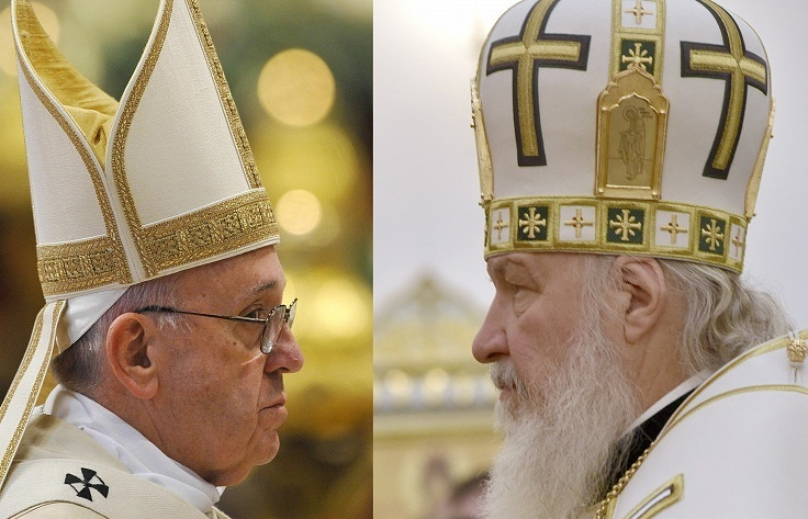 Pope Francis I (left) and the Patriarch of Moscow and all Russia, Kirill I