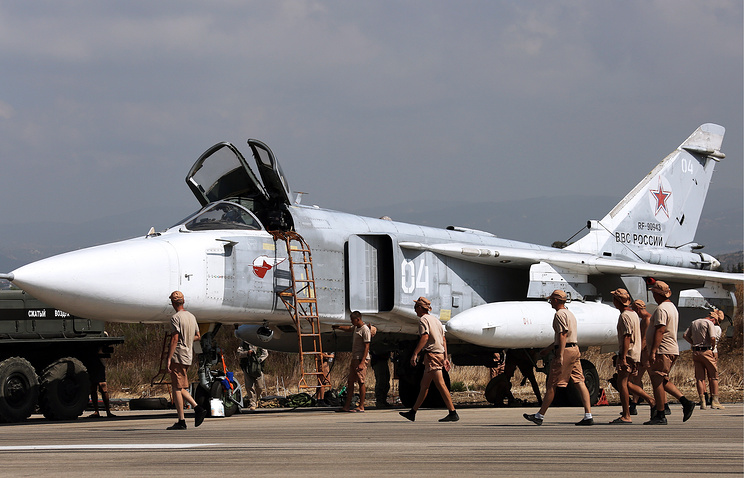 Russia's Sukhoi Su-24 attack aircraft at Hmeimim aiairbase in Syria