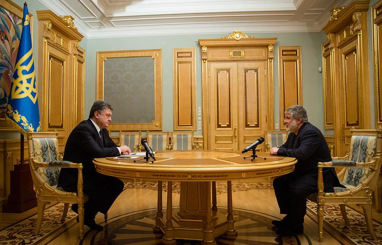 Ukraine's President Petro Poroshenko and oligarch Igor Kolomoisky