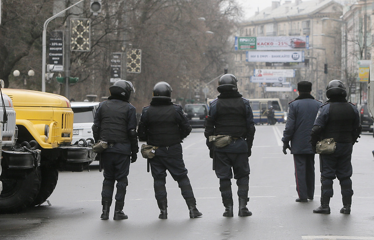 Ukrainian police officers in Kiev