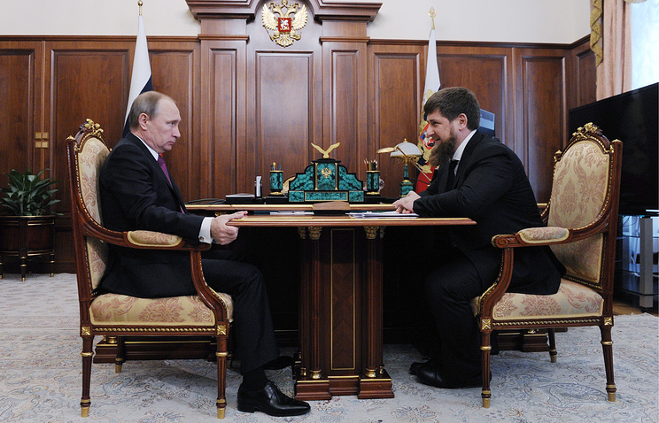 Russian President Vladimir Putin and Chechnya Head Ramzan Kadyrov