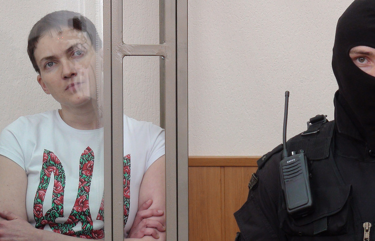 Nadezhda Savchenko inside a glass cage during a court hearing at the Donetsk district court (archive)