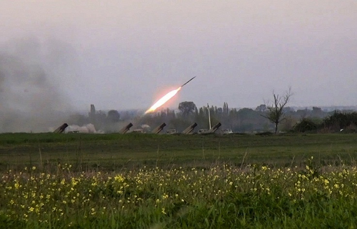 A Grad missile is fired by Azerbaijani forces, April 3