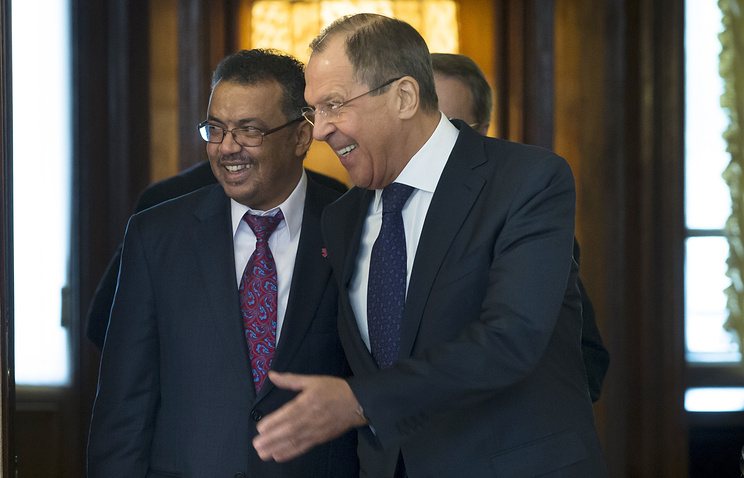 Ethiopian Foreign Minister Tedros Adhanom Ghebreyesus and Russian Foreign Minister Sergey Lavrov