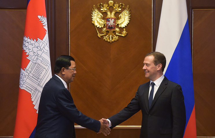 Cambodian and Russian Prime Ministers, Hun Sen and Dmitry Medvedev
