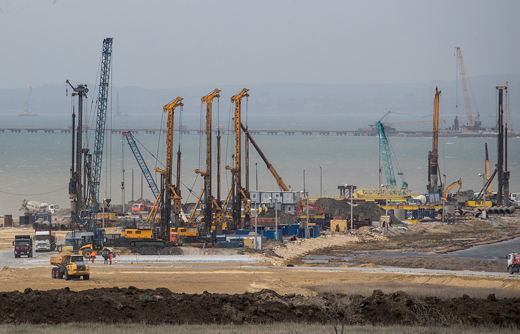The construction site of a bridge across the Strait of Kerch linking Crimea to mainland Russia, on the island of Tuzla