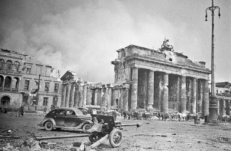 Destroyed Brandenburg Gate in Berlin, May 1945
