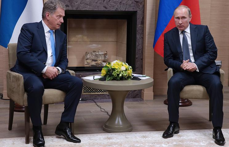 Finnish President Sauli Niinisto and Russian President Vladimir Putin, March 22, 2016