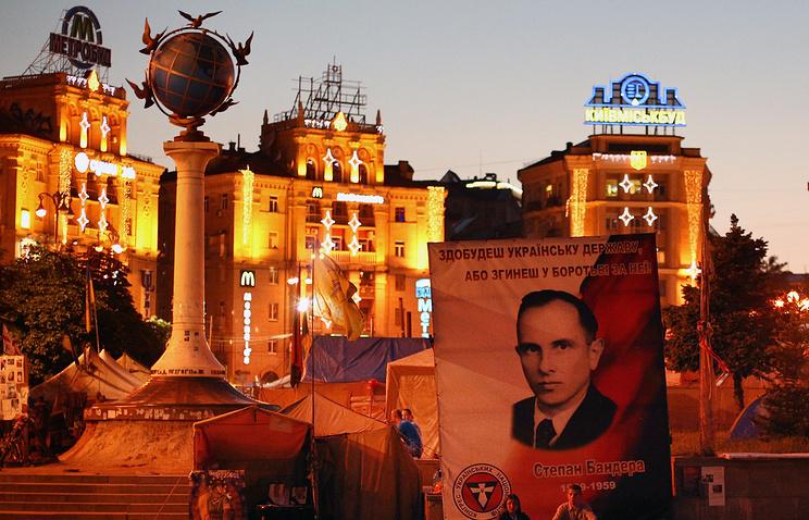 A portrait of Stepan Bandera in Kiev