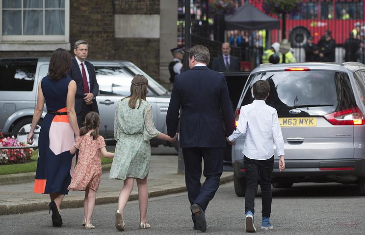David Cameron and his family