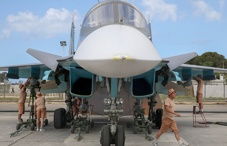 A Russian warplane at the Hmeymim base in Syria